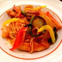 阿波尾鶏と春野菜のパスタ