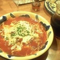 トマトと豚肉とモッツァレラのスープパスタ