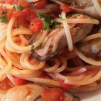 牡蠣の唐辛子トマトソース