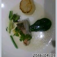 アコーダイとホタテの青のり仕立てアサリのスープ添え